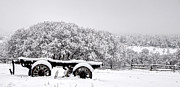 Pioneer Homes Photos - Vintage Wagon in Snow and Fog Filled Valley by Gary Whitton