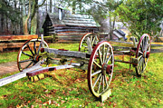 Horse And Cart Photo Metal Prints - Vintage Wagon on Blue Ridge Parkway I Metal Print by Dan Carmichael