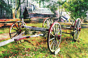 Horse And Cart Metal Prints - Vintage Wagon on Blue Ridge Parkway II Metal Print by Dan Carmichael