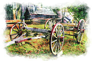 Cabin Wall Framed Prints - Vintage Wagon on Blue Ridge Parkway III Framed Print by Dan Carmichael