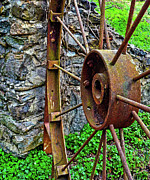 Old Mill Of Guilford Posters - Vintage Wagon Wheel Gate Poster by Sandi OReilly