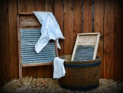 Primitive Art Prints - Vintage Washboard Laundry Day Print by Paul Ward