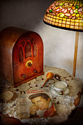 Night Lamp Photo Posters - Vintage - Whats on the radio tonight Poster by Mike Savad