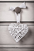 Rustic Metal Prints - Vintage wicker heart Metal Print by Jane Rix