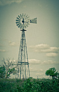 Clay Center Prints - Vintage Windmill Print by Tracy Salava