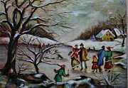 New England Snow Scene Metal Prints - Vintage Winter Scene/Skating Away Metal Print by Melinda Saminski