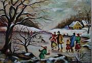 Vintage Winter Scene/skating Away Print by Melinda Saminski