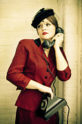 Vintage Telephone Photos - Vintage Woman by Diane Diederich
