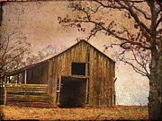 Wooden Barn Posters - Vintage Wood Barn Poster by Betty LaRue