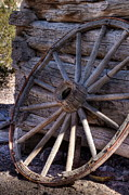 Spoked Wheel Posters - Vintage Wooden Wagon Wheel Poster by Ron Pniewski