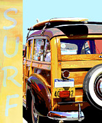 York Beach Posters - Vintage Woodie Surfboard Car Poster by Adspice Studios