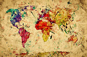 Parchment Prints - Vintage world map Print by Michal Bednarek