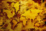 Vintage Digital Art Metal Prints - Vintage World Map Metal Print by Zaira Dzhaubaeva