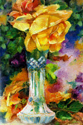 Books Digital Art - Vintage Yellow Rose in a Vase by Pauline Black
