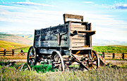 Horse And Cart Posters - Vintaged Covered Wagon Poster by Athena Mckinzie