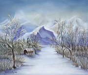 Winter Scene Pastels Prints - Vinter Fjell Print by Andrea Rosa