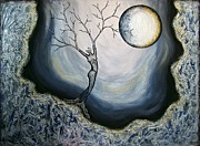 Silver Moonlight Painting Framed Prints - Vinternatt Framed Print by Sylvia Sotuyo