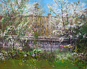 Trees Blossom Paintings - Violas Apple and Cherry Trees by Ylli Haruni