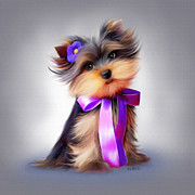 Puppy Mixed Media - Violet  by Catia Cho
