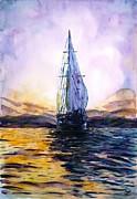 Violet Sunset Print by Zaira Dzhaubaeva
