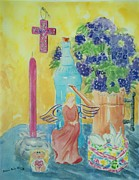 Angel Blues  Prints - Violets and Angel with Cross Still Life Print by Melanie Palmer