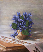 Teapot Paintings - Violets by Andreja Dujnic