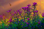 Field Digital Art Originals - Violets by Byron Fli Walker