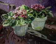Original  By Artist Paintings - Violets on Iron Table by Linda