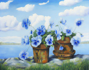 Still Life Paintings - Violets on the beach by Veikko Suikkanen