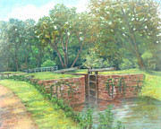 Park Scene Pastels Prints - Violettes Lock C and O Canal MD Print by Nancy Heindl