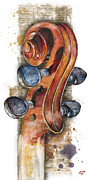 Violin Bows Violin Bows Posters - Violin 02 Elena Yakubovich Poster by Elena Yakubovich