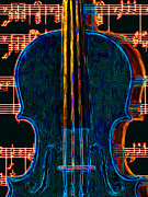 Orchestras Digital Art Metal Prints - Violin - 20130128 Metal Print by Wingsdomain Art and Photography