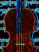 Orchestra Digital Art Metal Prints - Violin - 20130128v1 Metal Print by Wingsdomain Art and Photography