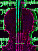 Violin Digital Art Framed Prints - Violin - 20130128v2 Framed Print by Wingsdomain Art and Photography