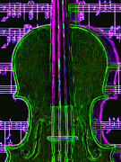 Violin Digital Art Metal Prints - Violin - 20130128v4 Metal Print by Wingsdomain Art and Photography