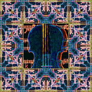 Violin Digital Art Metal Prints - Violin Abstract Window - 20130128v1 Metal Print by Wingsdomain Art and Photography