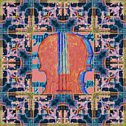 Pop Music Prints - Violin Abstract Window - 20130128v1b Print by Wingsdomain Art and Photography