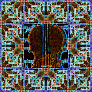 Pop Music Prints - Violin Abstract Window - 20130128v3 Print by Wingsdomain Art and Photography