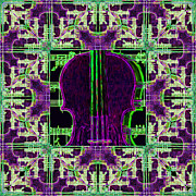 Viola Digital Art - Violin Abstract Window - 20130128v4 by Wingsdomain Art and Photography