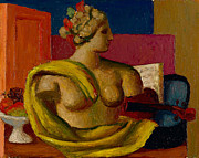 Violin And Bust Print by Mark Gertler