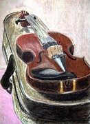 Strings Pastels Posters - Violin and Case Poster by Cathy Jourdan