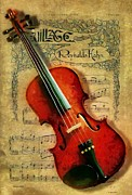 Violin Digital Art - Violin and notes by Kai Saarto