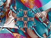 Violin Digital Art - Violin Collage clover by Dana Hermanova