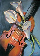 Donna Shortt Painting Posters - Violin Poster by Donna Shortt