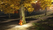 Fiddler Digital Art - Violin in autumn park by Bruce Rolff