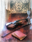 Violin Bows Violin Bows Photos - Violin on Credenza by Susan Savad