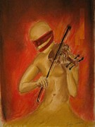 Music Pastels Originals - Violin Player by Safa Al-Rubaye