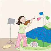 Pajamas Digital Art - Violin Practice by Monette Pangan