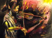 Music Pastels Originals - Violinist by Michael Alvarez