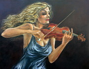 In Concert Painting Originals - Violinist by Nestor Martinez